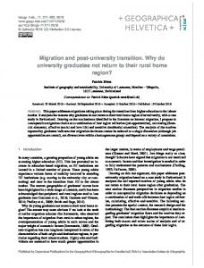 Migration and post-university transition. Why do university ... - GH