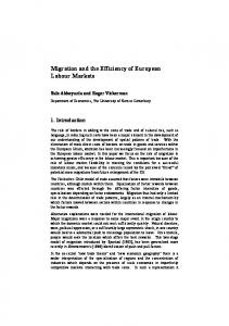 Migration and the Efficiency of European Labour Markets - CiteSeerX