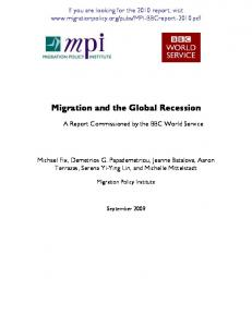 Migration and the Global Recession - Migration Policy Institute