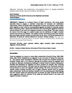 Migration, education and employment - Island Studies Journal