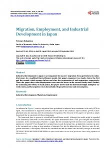 Migration, Employment, and Industrial Development in Japan