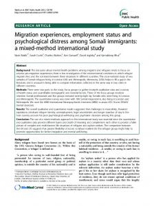 Migration experiences, employment status and ... - BioMedSearch