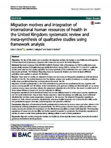 Migration motives and integration - Human Resources for Health