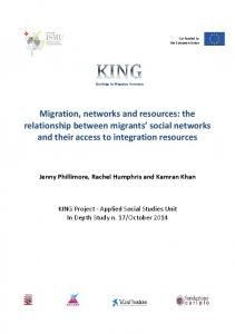 Migration, networks and resources - KING | Knowledge for INtegration ...