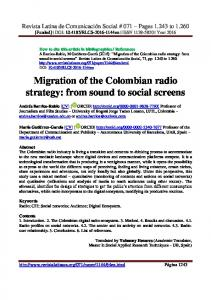 Migration of the Colombian radio strategy - Revista Latina de