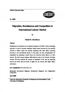 Migration, Remittances and Competition in International Labour Market