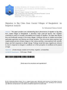 Migration to Big Cities from Coastal Villages of Bangladesh: An ...