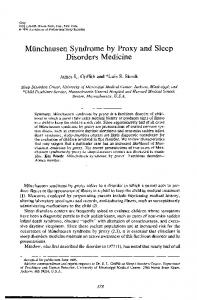 Miinchausen Syndrome by Proxy and Sleep Disorders Medicine