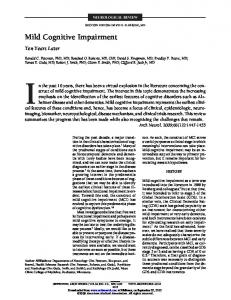 Mild Cognitive Impairment - Semantic Scholar