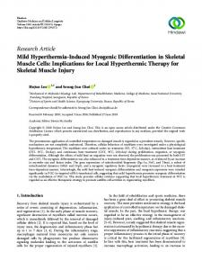 Mild Hyperthermia-Induced Myogenic Differentiation in Skeletal