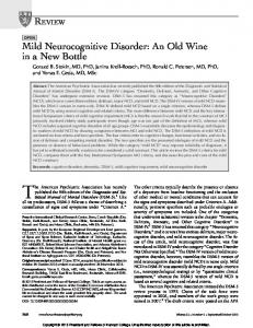 Mild Neurocognitive Disorder: An Old Wine in a New ...