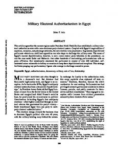 Military Electoral Authoritarianism in Egypt - SSRN papers