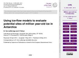 Million year-old ice in Antarctica - CPD