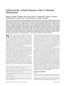 Mimotope Immunization Epitope-Specific Antibody Response to IgE by