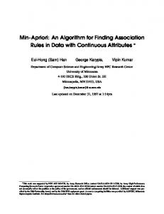 Min-Apriori: An Algorithm for Finding Association Rules in ... - CiteSeerX
