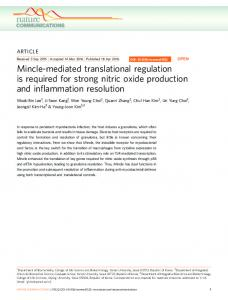 Mincle-mediated translational regulation is required for strong ... - Nature