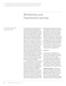 Mindfulness and Experiential Learning - Experience Based Learning ...