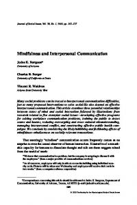 Mindfulness and Interpersonal Communication - Semantic Scholar