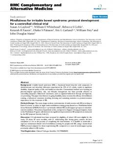 Mindfulness for irritable bowel syndrome: protocol development for a