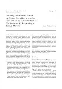 ''Minding Our Business'': What the United States ... - CiteSeerX