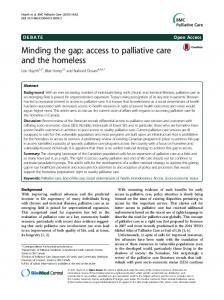 Minding the gap: access to palliative care and the homeless ...