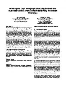 Minding the Gap: Bridging Computing Science and Business ...