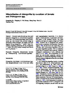 Mineralization of chlorpyrifos by co-culture of Serratia ... - Springer Link