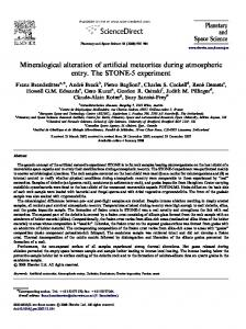 Mineralogical alteration of artificial meteorites during atmospheric ...