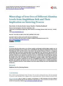 Mineralogy of Iron Ores of Different Alumina Levels from Singhbhum ...