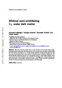 Minimal semi-annihilating ZN scalar dark matter - arXiv