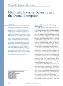 Minimally Invasive Dentistry and the Dental Enterprise - Biodontics