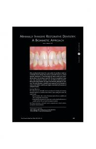 minimally invasive restorative dentistry: a biomimetic ... - CiteSeerX