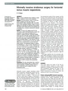 Minimally invasive strabismus surgery for horizontal ... - BioMedSearch