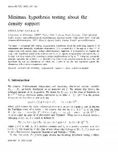 Minimax hypothesis testing about the density support - CiteSeerX