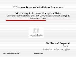 Minimizing Bribery and Corruption Risks: Dr ... - Luthra & Luthra