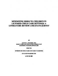minimizing risks to children in licensed child care settings