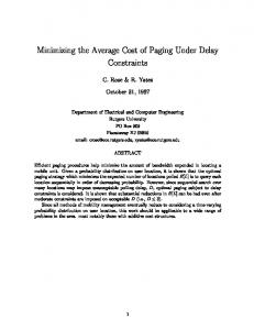 Minimizing the Average Cost of Paging Under