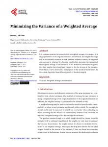 Minimizing the Variance of a Weighted Average - Scientific Research ...