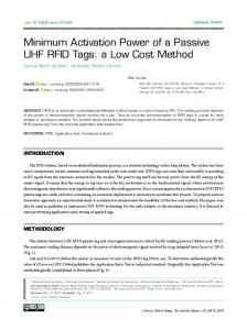 Minimum Activation Power of a Passive UHF RFID Tags - SciELO