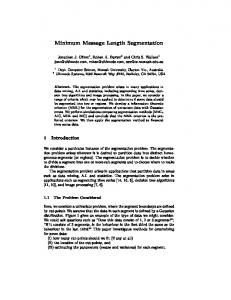 Minimum Message Length Segmentation - CiteSeerX