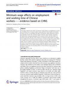 Minimum wage effects on employment and working time of Chinese ...