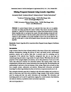 Mining Frequent Itemsets Using Genetic Algorithm - Aircc Digital Library