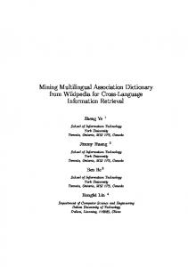 Mining Multilingual Association Dictionary from Wikipedia for Cross ...