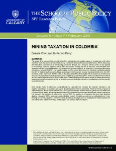 mining taxation in colombia - School of Public Policy