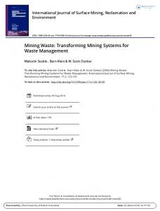 Mining Waste: Transforming Mining Systems for ...