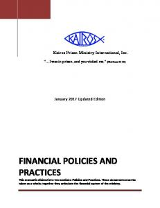 Ministry Financial Policies and Practices - Kairos