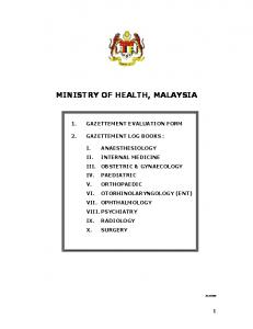 MINISTRY OF HEALTH, MALAYSIA