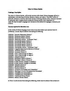 Minor in Chinese Studies Catalogue Description The minor in ...
