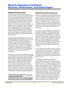 Minority Depository Institutions: Structure, Performance, and ... - FDIC