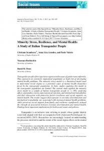 Minority Stress, Resilience, and Mental Health: A Study of ... - Core